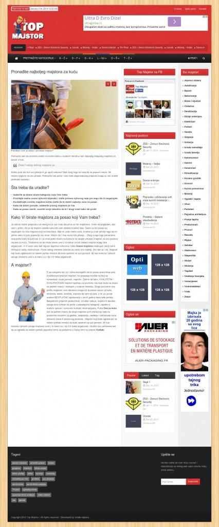 top majstor izgled naslovne strane sajta