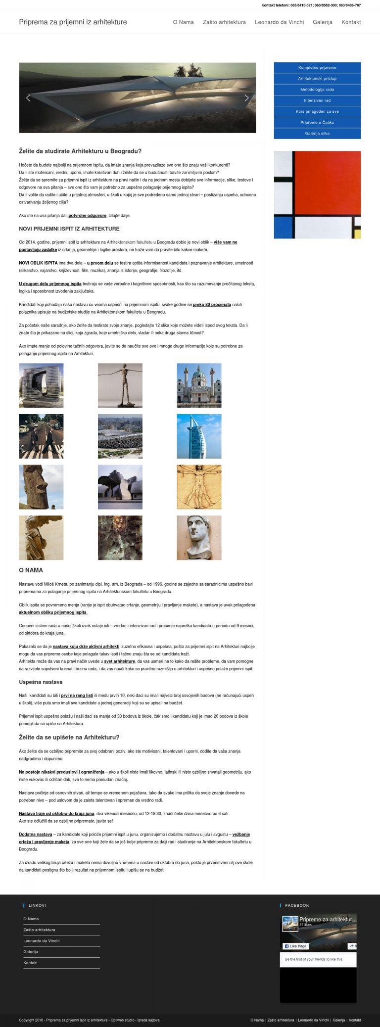 novi sajt skole za arhitekturu u wordpressu